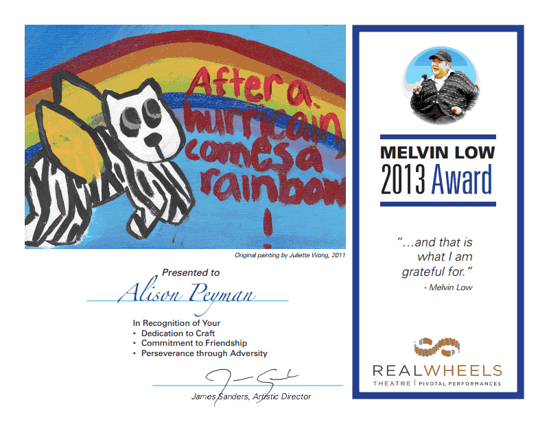 2013 Melvin Low Award: Alison Peyman