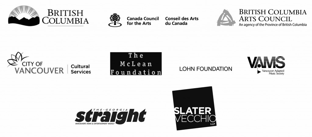 Sponsor and funder logos for Province of BC (BC Gaming), Canada Council for the Arts, BC Arts Council, City of Vancouver Cultural Services, The McLean Foundation, Loan Foundation, VAMS, The Georgia Straight, Slater Vecchio.