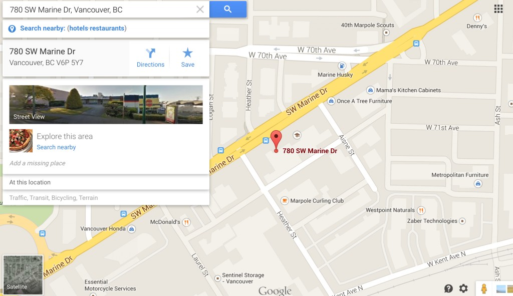 Google map showing Realwheels office location