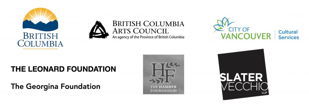 Logos for BC Gaming, BC Arts Council, City of Vancouver Cultural Services, The Leonard Foundation, The Hamber Foundation, and Slater Vecchio LLP.