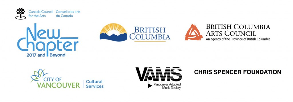 Logos for Canada Council for the Arts, New Chapter, BC Gaming, BC Arts Council, City of Vancouver Cultural Services, VAMS, Chris Spencer Foundation.