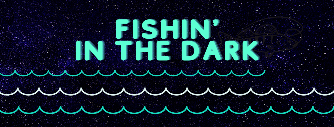 "Graphic design with a black, starry-night background, a bright green font that reads ""Fishin' in the Dark"", with wave-like designs underneath."