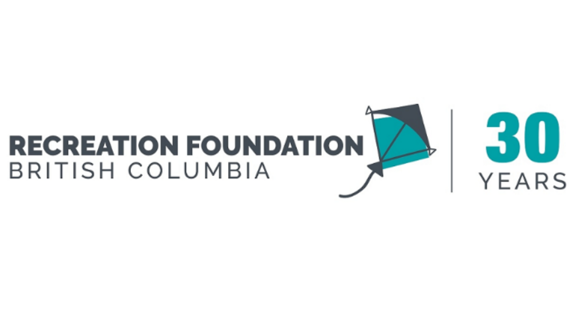 """Recreation Foundation BC logo, includes a graphic of a kite and the words """"30 years"""""""