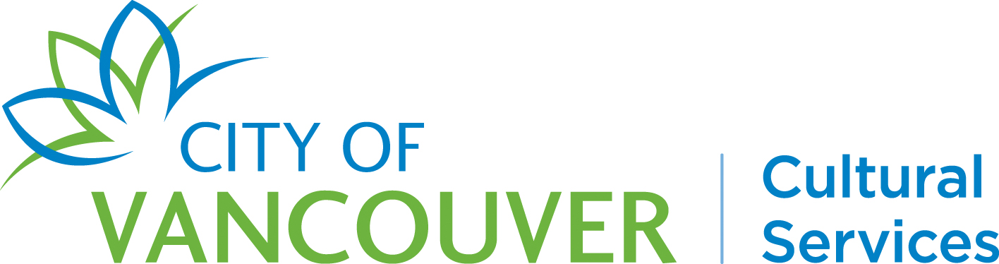 City of Vancouver Cultural Services in green and blue font with a flower graphic.